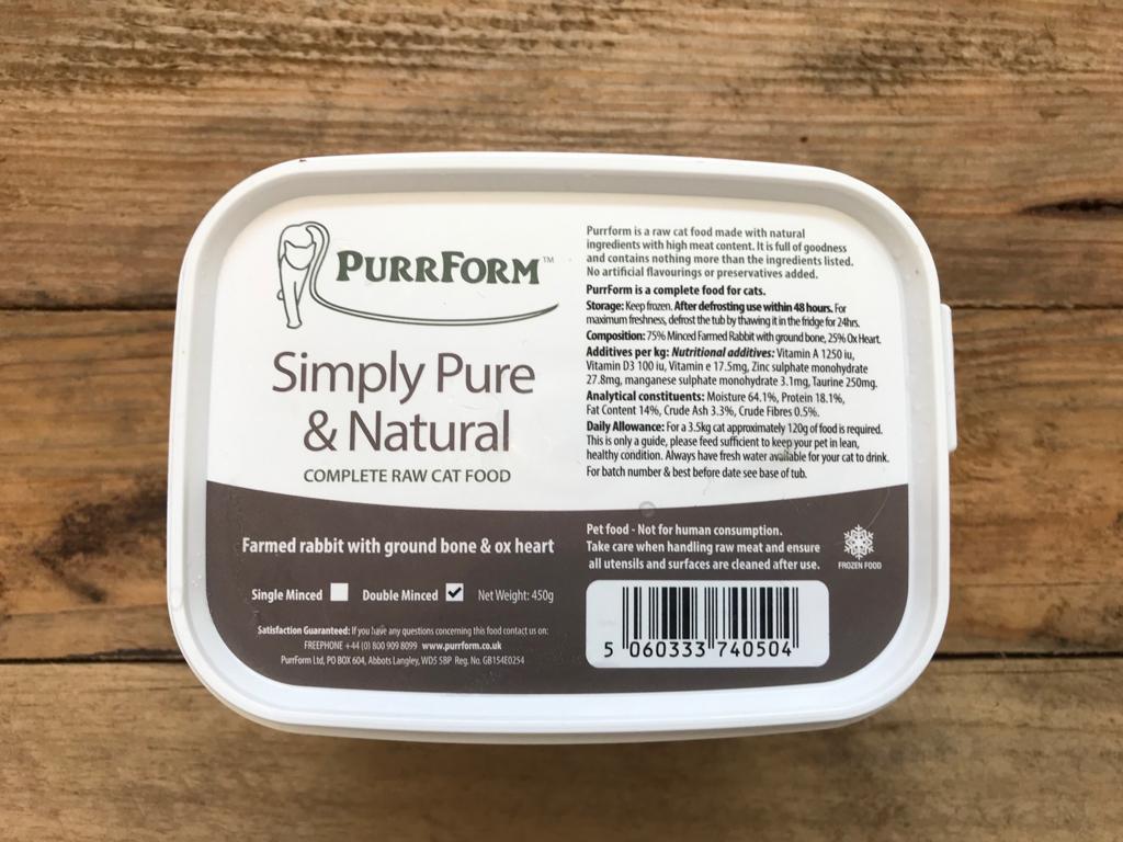 PurrForm Farmed Rabbit With Ox Heart (Kitten) – 450g
