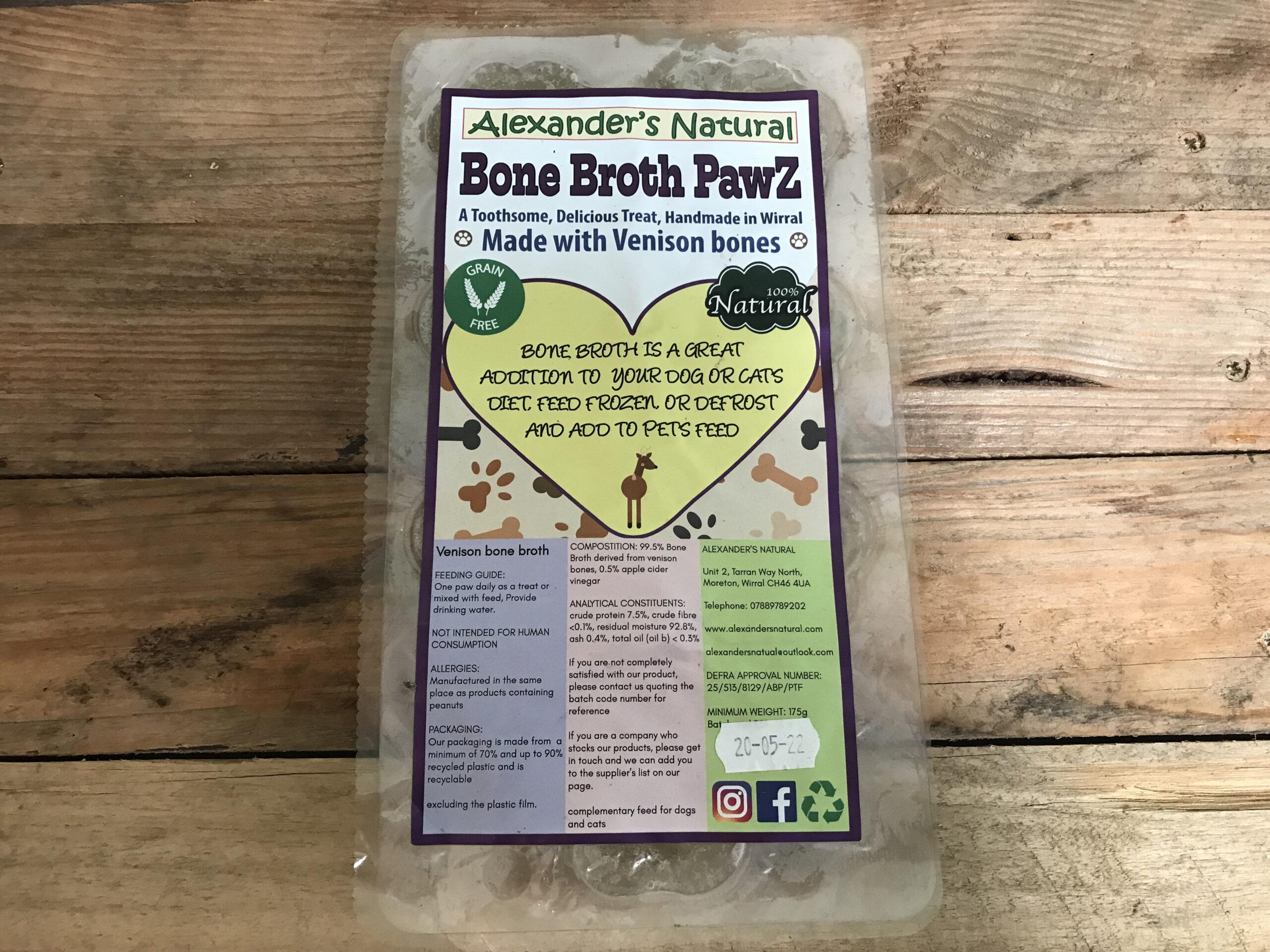 Alexander Naturals Venison Bone Broth Paws – 7pcs